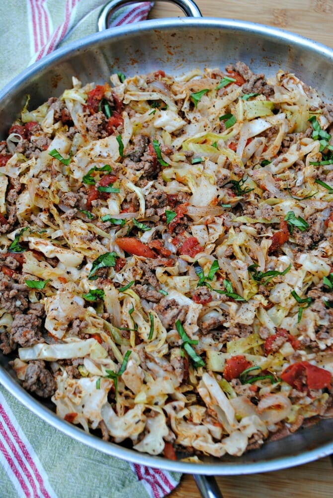 Italian ground beef and cabbage skillet