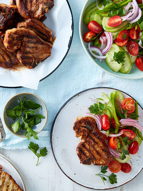 Spanish Lamb Loin Chops with Tomato Salad