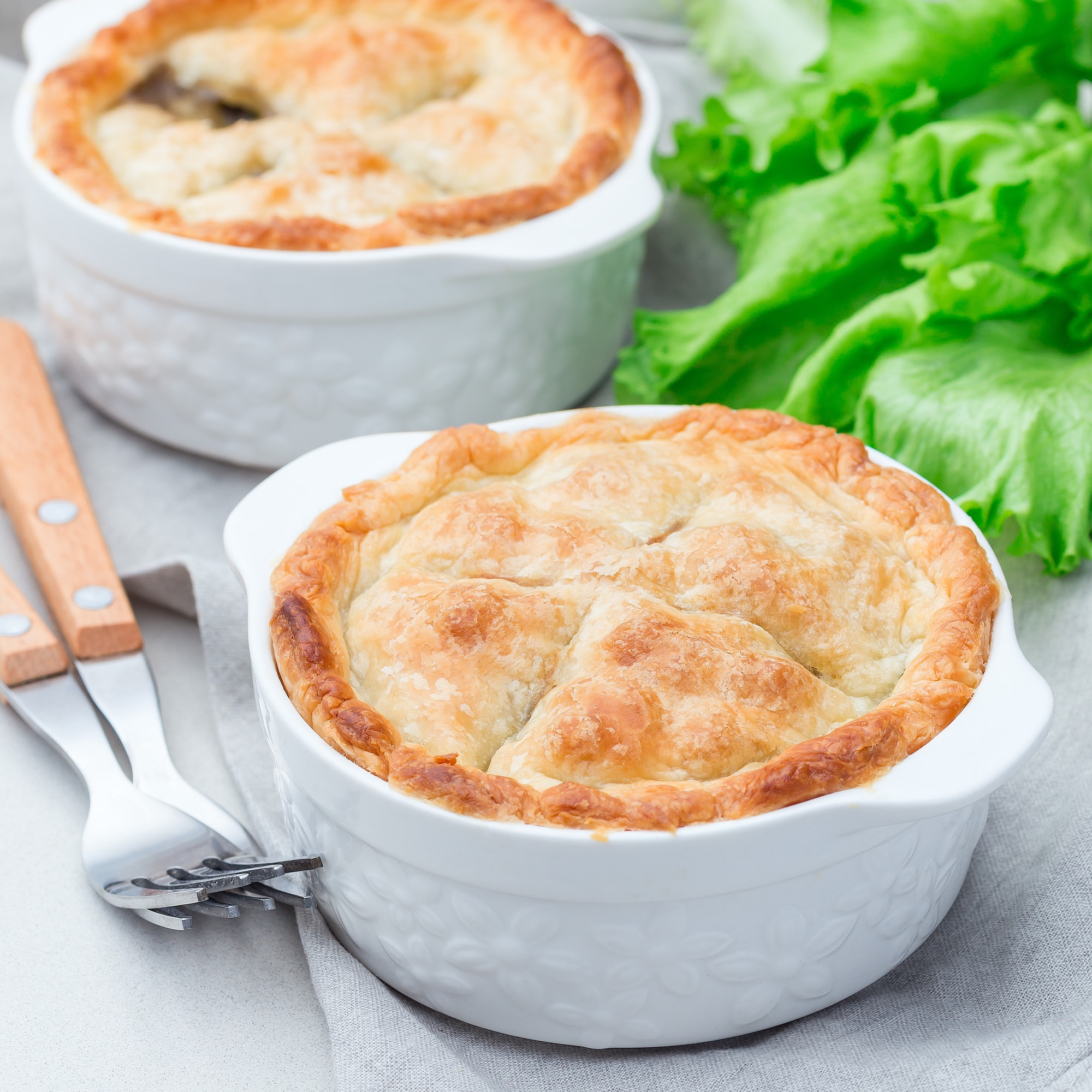 Vegetarian pot pie with lentil, mushroom, potato - contnental breakfasts